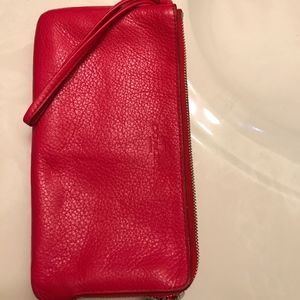 Coach red leather wallet/wristlet